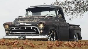 57 Chevy Truck Slammed , 20s , Chrome , Fall Leaves | Vintage ...