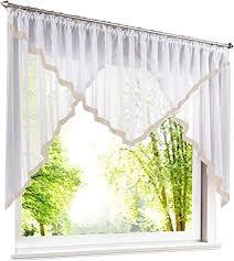 eslir scheibengardine mit kräuselband gardinen küche bistrogardinen transparent stores vorhänge mit satinband voile sand hxb 120x300cm 1 stück
