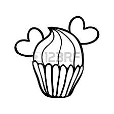 Valentine cupcake decorated with two hearts Hand drawn sketch Black outline on white background
