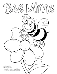 Bee Mime Valentines Day Coloring Sheet