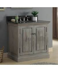 Infurniture Rustic Style 36 Inch Single Sink Bathroom Vanity Dark Limestone Top No
