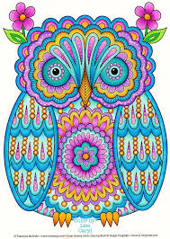 Owl Coloring Page From Thaneeya McArdles Groovy Owls Book Colored By Lisa Caryl