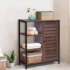 costway sideboard braun konsolenschrank mit verstellbarem regal badezimmerschrank im industriellen design freistehender schrank fuer badezimmer