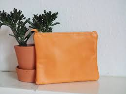 leather clutch leather zip pouch cosmetic bag leather bag