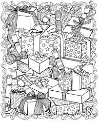 Christmas Presents Stacked Hard Adult Coloring Pages