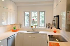 White Themed Small Kitchen Design For Middle Class Family
