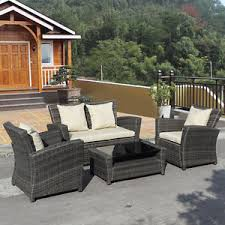 Ebay Rattan Patio Sets by 4 Pcs Brown Wicker Cushioned Rattan Patio Set Garden Lawn Sofa