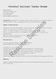 Resume Example Satisfying For Teachers Kindergarten Teacher Pre Sample Photo Examplesschool Assistant Sle D