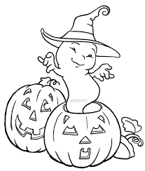 Ghost Halloween Pumpkin Coloring Pages