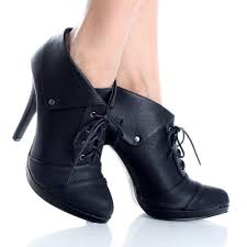 lace up oxford booties high heels brogues womens black ankle boots