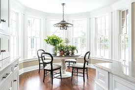 Bay Window Table Artistic Kitchen White Pedestal Dining With Black Chairs In For Ladder Back
