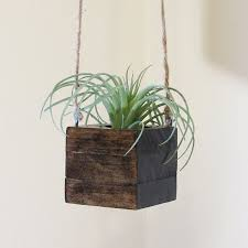 Small Wood Hanging Succulent Planter Modern Cube Plant Holder Indoor Garden Box