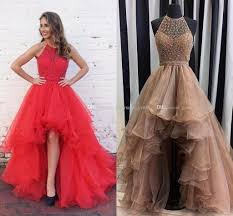 charming champagne high low prom dresses halter sequins beaded