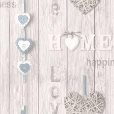 Love Your Home Shabby Chic Wallpaper Blue White Fine Decor FD41719