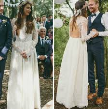 Rustic Long Sheer Sleeves Backless Boho Wedding Dresses High Neck Sleeve Casamento Lace Dress