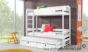 lit enfant superposé 3 couchages en bois massif avec rangements