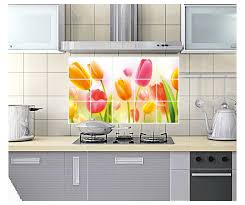 Aliexpress Buy Tulip Flower Home Kitchen Decor Oil Proof High Temperature Resistant Aluminum Foil Removable Mural Tile Wall Stickers Decal From