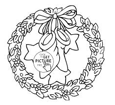 Christmas Wreath With Bow And Stars Coloring Pages For Kids Printable Free