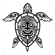 Gros Plan Vecteur De Tortue Polynésienne Tatouage Clip Art Libres De