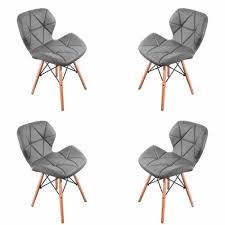 möbel 4 x pu leder stuhl mit holzbeinen esszimmer küche bar