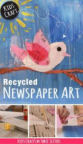 Recycled Newspaper Art Kids Bird Craft