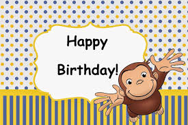 Curious George Toddler Bedding by Curious George Birthday Party Card Set Instant Download