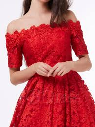 a line off the shoulder short sleeves lace knee length cocktail