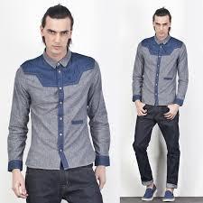 Autumn Mens Clothes Casual Denim Patchwrok Shirt Fashion Designer Outerwear Korean Long Sleeve Jeans Shirts For Men