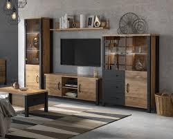 wohnwand olin anbauwand 304cm appenzeller fichte schwarz industrial design
