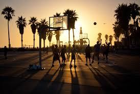 Sunset At Venice Beach Basketball Courts
