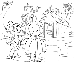 Curious George Coloring Pages With Allie In Winter