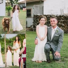 Flower Girl Dresses For Rustic Wedding Girls Lace Maxi Dress Long Stands