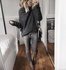 Gray Casual Outfit And Animal Print Ankle Boots