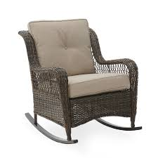 Belham Living Montauk Resin Wicker Outdoor Rocking Chair With Cushions -  Walmart.com Resin Wicker Porch Rockers Easy Care Rocker Charleston Rocking Chair Camel Back Chairs Set Of Two White Summer Outdoor Belwood With Floral Cushions 3pc Cushion And End Table Faux Book Pocket Coral Coast With Khaki The Portside Plantation All Weather Tortuga