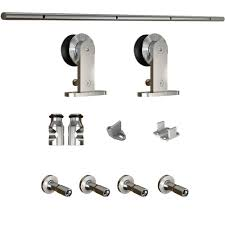 84 In. Brushed Steel Sliding Barn Door Hardware Kit With Arrow ... Door Design Tips Tricks Great Sliding Barn For Classic Home How To Make Hdware Amazing Glass Doors Remodelaholic 35 Diy Rolling Ideas Your Own Wood Track Diy Masonite 42 In X 84 Zbar Knotty Alder Interior Architectural Accents For The Best 25 Door Hdware Ideas On Pinterest Brushed Steel Kit With Arrow Rails Lowes