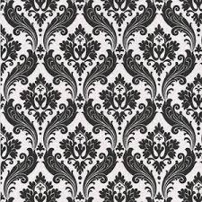 Vintage Flock Wallpaper Black White 56 Square Feet