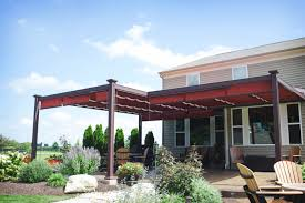 Attached Aluminum Bungalow With Beautiful Red Canopies Covering ... Shade Tree Awnings Patio Shades Awning Company Chrissmith Pergola Covers Rain Backyard Structures Roof Designs Aesthetic Design Build Ideas Cloth For Bpm Select The Premier Building Product Search Engine Canvas Choosing A Retractable Canopy Track Single Multi Cable Or Roll Add Fishing Touch To Canopies And Pergolas By Haas Page42jpg 23 Best Images On Pinterest Diy Awning Balcony Creative Equinox Louvered System Shadetree Sails Get Outdoor Living Solutions
