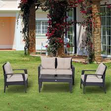 Outsunny Patio Furniture Cushions by Outsunny 4pc Rattan Wicker Sofa Set Outdoor Coffee Table And Chair