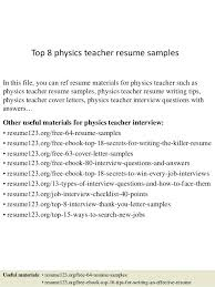 Teachers Resume Format Top 8 Physics Teacher Samples In This File You Can Ref