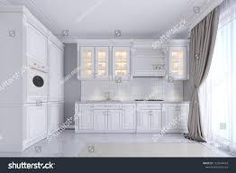 Modern White Kitchen Interior 3d Rendering Stockfoto Und Modern White Kitchen Classic Style Interior Stock