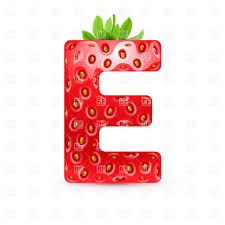 Strawberry Style Font Letter E Vector Image Of Design Elements