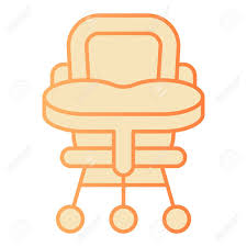 Baby Chair Flat Icon. High Chair Orange Icons In Trendy Flat..