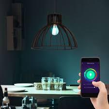 etc shop smarte led leuchte hängeleuchte pendelle wohnzimmer käfigle holz rustikal smart rgb led dimmbar 10w cct 2700 6500k 806lm dxh 34x120