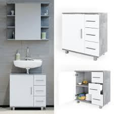 vicco waschbeckenunterschrank ilias weiß beton waschtisch unterschrank badezimmer