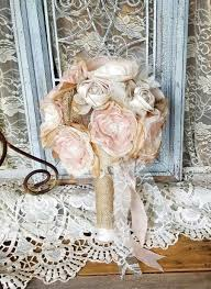 Burlap Bridal Bouquet Wedding Flowers Rustic Chic Silk Flower Country