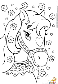 Horse With Hearts Flowers More Princess Coloring PagesColoring