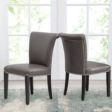 Shop Abbyson Century Grey Leather Dining Chair (Set Of 2) - On Sale ... Birinus Leather Ding Chair Brown Chairs Barker Stonehouse Gaia Vintage Light Solid Oak Legs Braced Bonded From China Cheap Ding Chairs 100 Products Graysonline Roundhill Fniture Lotusville Pu Faux Parson Set Of 2 Walmartcom Metal Industrial Brutus Buffalo Kilburnie Tan Mark Harris Wng Townhouse Lots Crates