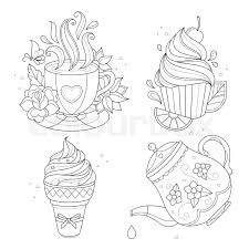 Coloring Page Set Cupcake Ice Cream Tea Pot Cup Vector Illustration Isolated On White Background