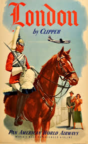 Original Vintage Posters Travel London By Clipper Pan Am