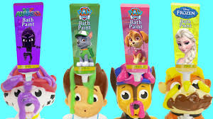paw patrol pups bath tub time finger paint soap to learn colors